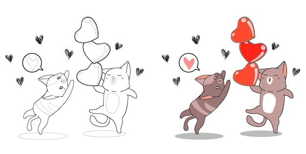 Gatos y corazones en la página para colorear de dibujos animados del día de san valentín para niños