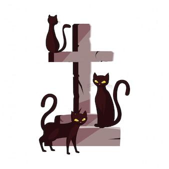 Gatos cruzan feliz celebración de halloween