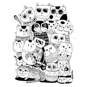 Gatos dibujados a mano en blanco y negro