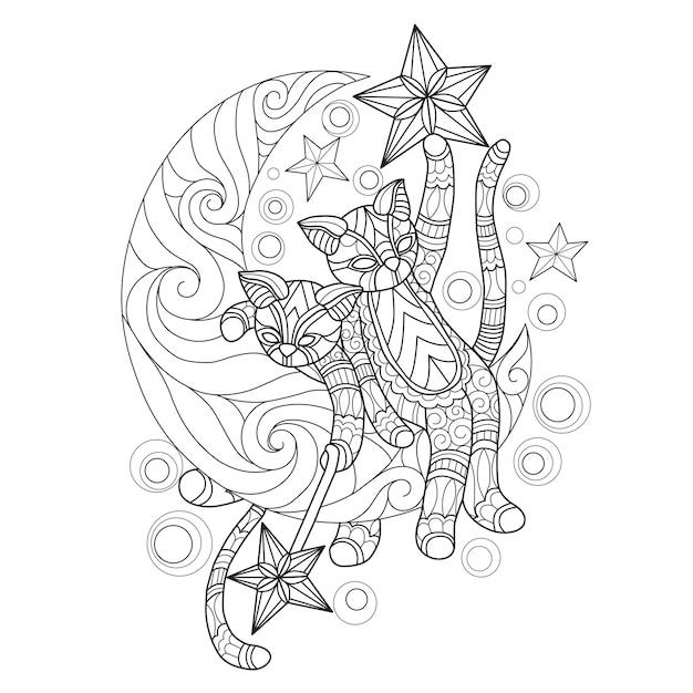 Gatos dibujados a mano en la luna