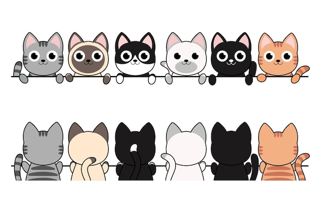 Gatos de dibujos animados divertidos, diferente conjunto de bordes frontales, poses.
