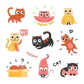 Gatos de dibujos animados. gatitos divertidos de diferentes colores, personajes divertidos de gatos perezosos. encantadoras mascotas juguetonas, juego de animales domésticos. gato perezoso, gatito mascota, ilustración soñolienta y juguetona