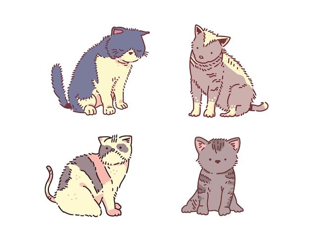 Gatos divertidos dibujados a mano. ilustración de gato. gato