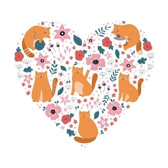 Gatos divertidos dibujos animados en forma de corazón