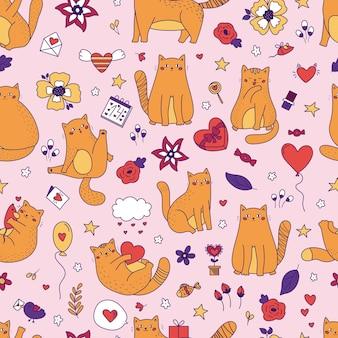 Gatos divertidos doodle con patrones sin fisuras de globo
