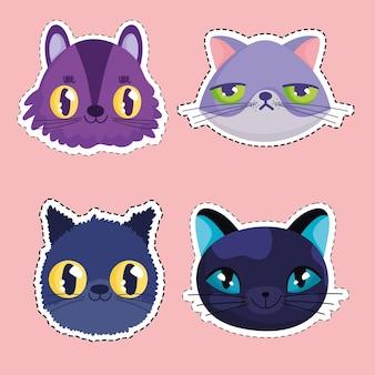 Gatos divertidos enfrentan dibujos animados animales pegatinas mascota vector ilustración