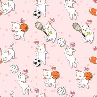Gatos dorable sin costura y patrón de instrumentos deportivos