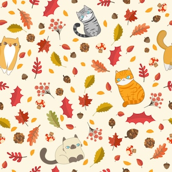 Gatos en elementos de otoño patrón sin fisuras.