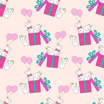 Gatos sin fisuras con globos y patrón de caja de regalo