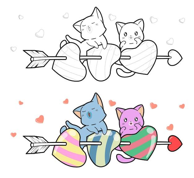 Gatos y flecha con corazones fácilmente página para colorear de dibujos animados para niños