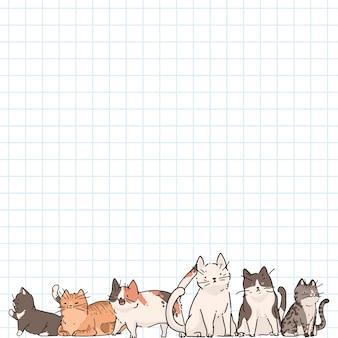 Gatos en el fondo de papel de nota