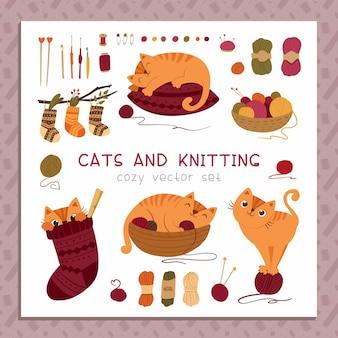 Gatos y gatito de tejer durmiendo en la almohada jugando con la bola de hilo escondidos en un calcetín de lana