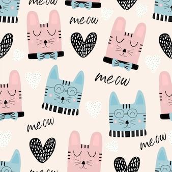 Gatos graciosos cabeza de patrones sin fisuras con texto miau