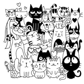 Gatos graciosos dibujados a mano.