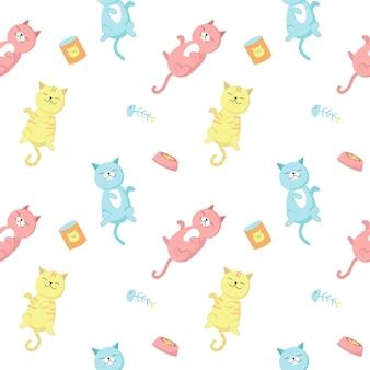 Gatos graciosos vector de patrones sin fisuras. diseño creativo con gatos felices y juguetones para tela, textil, papel tapiz, papel de regalo.