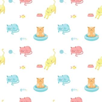 Gatos graciosos vector de patrones sin fisuras. diseño creativo para tela, textil, papel tapiz, papel de regalo con gatos felices comiendo, durmiendo, bañándose.