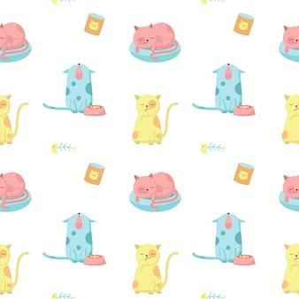 Gatos graciosos vector de patrones sin fisuras. diseño creativo para tela, textil, papel tapiz, papel de regalo con lindos gatos felices lamiendo, durmiendo, maullando.