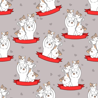 Gatos inconsútiles y patrón de cinta roja