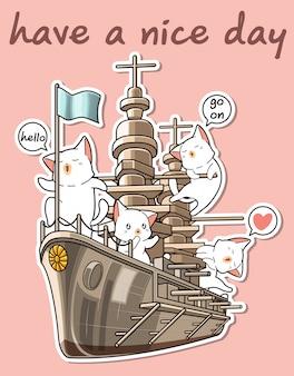 Gatos kawaii con el barco de guerra
