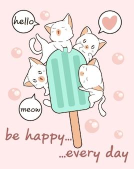 Gatos kawaii con barra de helado