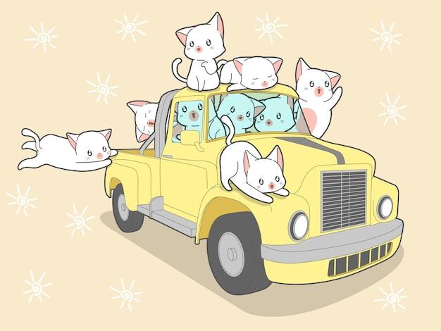 Gatos kawaii con coche en vacaciones de verano.