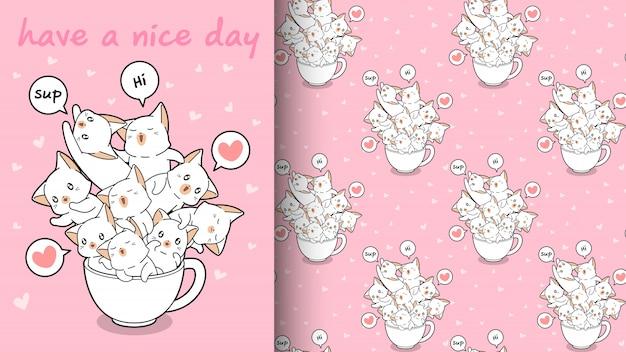 Gatos kawaii sin costura en un patrón de taza