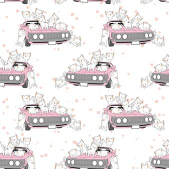 Gatos kawaii dibujados sin fisuras y patrón de coche rosa.
