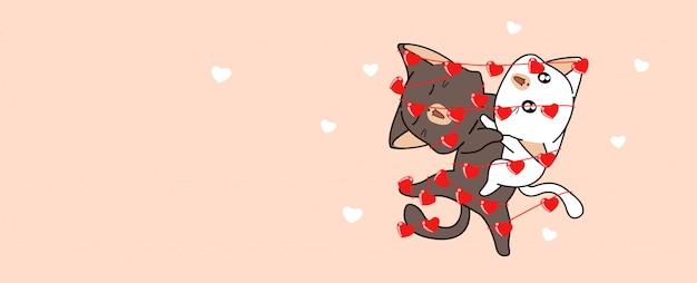 Los gatos kawaii están unidos con corazones