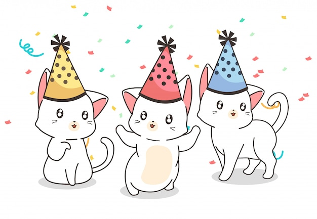 Gatos kawaii en la fiesta