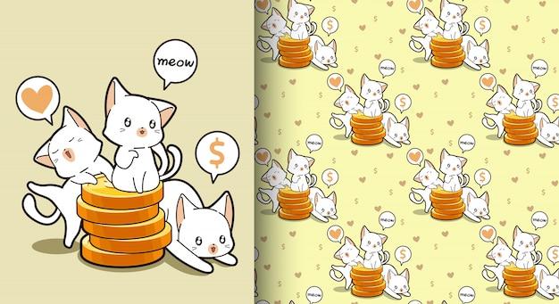 Gatos kawaii sin fisuras con un patrón de monedas de oro