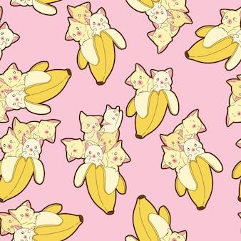 Gatos kawaii sin fisuras en el patrón de plátano.