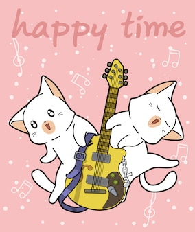Los gatos kawaii y la guitarra