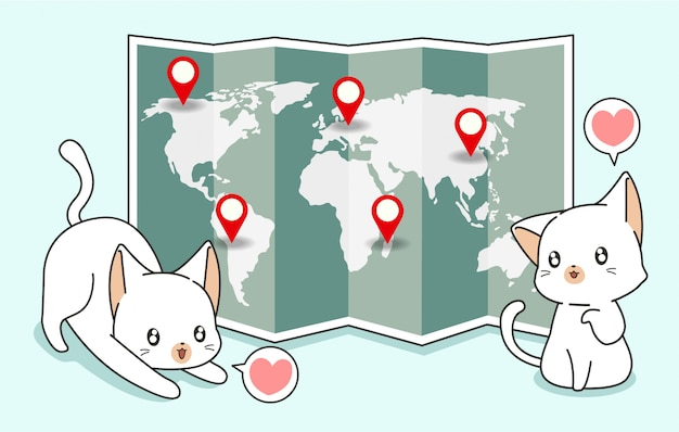 Gatos kawaii y mapa mundial con pasadores de ubicación