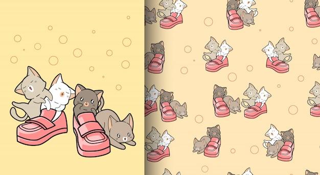 Gatos kawaii de patrones sin fisuras con zapatos