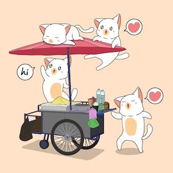 Gatos kawaii y puesto portátil.