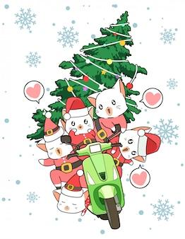 Los gatos kawaii santa están manejando una motocicleta con un árbol de navidad