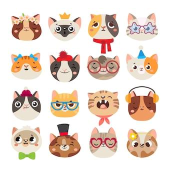 Gatos lindos cabezas. bozal de gato, cara de gatito doméstico con sombrero, bufanda y gafas de fiesta de color conjunto de dibujos animados aislado