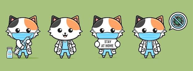 Gatos lindos disfrazados de dibujos animados de médicos sobre fondo verde claro
