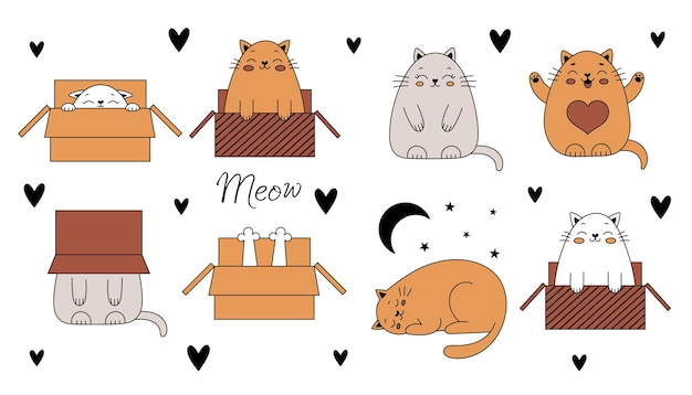 Gatos lindos del doodle. gatos graciosos en una caja. ilustración de vector con animales domésticos aislados sobre fondo blanco.