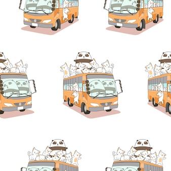 Gatos lindos sin fisuras y patrón de panda y autobús.