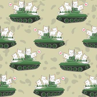 Gatos lindos sin fisuras y patrón de tanques de guerra