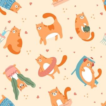 Gatos lindos jugando patrón animal de compañía caminando descansando en el sillón y escuchando música en auriculares