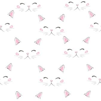 Gatos lindos mascotas iconos sin fisuras, patrón y fondo