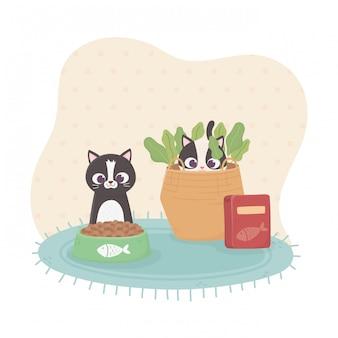 Gatos lindos con paquete de comida de tazón e ilustración de cesta