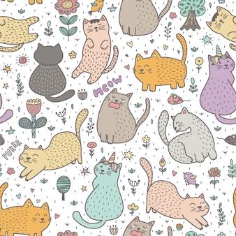 Gatos lindos en el patrón sin costuras de verano