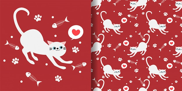 Gatos lindos de patrones sin fisuras sobre fondo rojo.