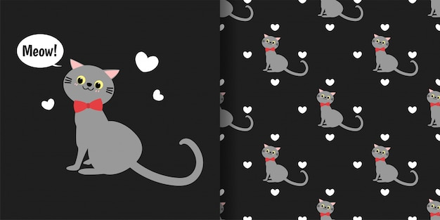 Gatos lindos con pequeños corazones de patrones sin fisuras sobre fondo negro.
