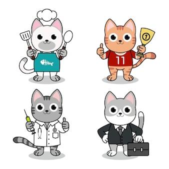 Gatos lindos en traje de cocinero, médico, empresario y atleta.