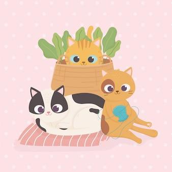 Gatos mascotas con bolas de lana cesta de mimbre plantas ilustración de dibujos animados