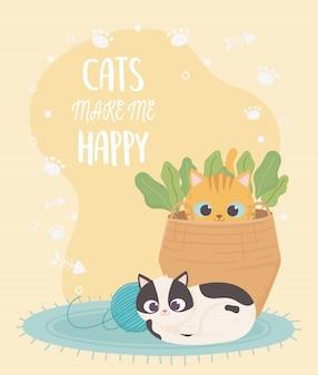 Los gatos me hacen feliz, gato manchado con bola de lana y gatito en la canasta